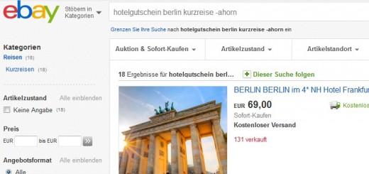 gutschein für Reisen bei ebay